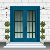 Avant de porte de Chambre avec le seuil et étapes porche, fenêtre, lampe, fleurs dans le pot, façade d'entrée de bâtiment, concep illustration de vecteur
