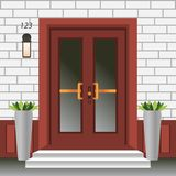 Avant de porte de Chambre avec le seuil et étapes porche, fenêtre, lampe, fleurs dans le pot, façade d'entrée de bâtiment, concep illustration libre de droits