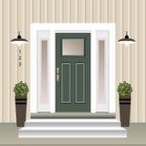 Avant de porte de Chambre avec le seuil et étapes porche, fenêtre, lampe, fleurs dans le pot, façade d'entrée de bâtiment, concep illustration stock