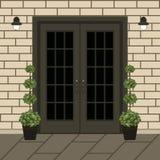 Avant de porte de Chambre avec le seuil et la fenêtre, lampe, fleurs, buildi illustration de vecteur
