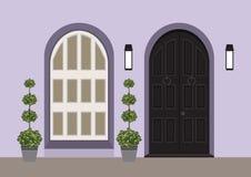 Avant de porte de Chambre avec le seuil et la fenêtre, lampe, fleurs, construction illustration de vecteur