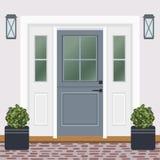 Avant de porte de Chambre avec le seuil et la fenêtre, lampes, fleurs, entrée illustration libre de droits