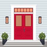 Avant de porte de Chambre avec le seuil et les étapes, fenêtre, lampes, fleurs illustration libre de droits