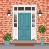 Avant de porte de Chambre avec le seuil et les étapes, fenêtre, lampes, fleurs illustration de vecteur
