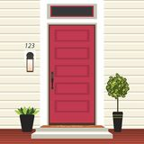 Avant de porte de Chambre avec le seuil et le tapis, étapes, fenêtre, lampe, fleurs dans le pot, façade d'entrée de bâtiment, con illustration libre de droits