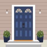 Avant de porte de Chambre avec le seuil et le tapis, étapes, fenêtre, lampe, fleurs, façade d'entrée de bâtiment, illustration ex illustration de vecteur