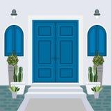Avant de porte de Chambre avec le seuil et le tapis, étapes, fenêtre, lampe, flo illustration de vecteur