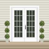 Avant de porte de Chambre avec le seuil et le tapis, étapes, fenêtre, lampe, flo illustration libre de droits