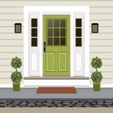 Avant de porte de Chambre avec le seuil et le tapis, étapes, lampe, fleurs, Bu illustration libre de droits