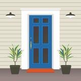 Avant de porte de Chambre avec le seuil et le tapis, fenêtre, lampe, fleurs, façade d'entrée de bâtiment, vecteur extérieur d'ill illustration libre de droits