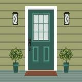 Avant de porte de Chambre avec le seuil et le tapis, fenêtre, lampe, fleurs, façade d'entrée de bâtiment, vecteur extérieur d'ill illustration de vecteur