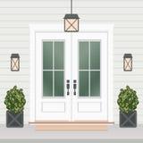 Avant de porte de Chambre avec le seuil et le tapis, fenêtre, lampes, fleurs illustration stock