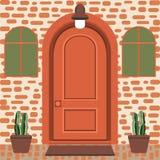 Avant de porte de Chambre avec le seuil et le tapis, fenêtre, lampes, fleurs illustration de vecteur