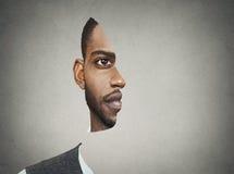 Avant de portrait d'illusion optique avec le profil coupé d'un homme Images libres de droits