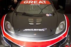 Avant de véhicule bleu de McLaren mp4-12c gt3 Image libre de droits