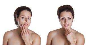 Avant et après l'image d'une belle jeune femme est concerné l'ab photographie stock libre de droits