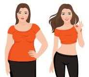 Avant et après la grosse et mince femme de perte de poids sur un backg blanc Image stock