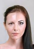 Avant et après le visage Photo stock