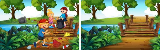 Avant et après nettoyer le parc illustration de vecteur