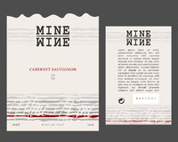 Avant et arrière du calibre moderne de label de vin image libre de droits