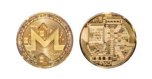 Avant et banque de pièce de monnaie de Monero d'isolement Image stock