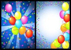 Avant et dos de carte de voeux de joyeux anniversaire illustration stock