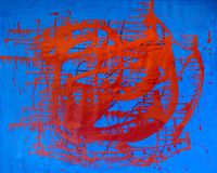Avant-garde abstract painting paints on wall red and blue color Royalty Free Stock Images