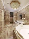 Avant-garde bathroom with sauna. 3d render stock images