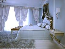 Avant garde design av sovrummet Arkivbilder