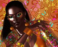 Avant garde fashion and beauty scene. In our unique 3d digital art render. Stunningly beautiful black woman, glowing with confidence stock illustration