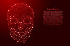 Avant humain de crâne des lignes rouges et du glowin polygonaux futuristes illustration de vecteur