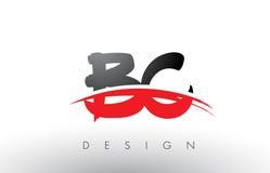 AVANT JÉSUS CHRIST brosse Logo Letters de B C avec l'avant de brosse de bruissement de rouge et de noir illustration stock