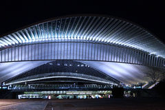 Avant la Gare. The magnificant building of the trainstation in Liege Guillemins Royalty Free Stock Photography