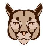 Avant plat de style d'illustration de vecteur de visage de puma Image libre de droits