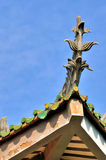 Avant-toit décrit de la construction traditionnelle chinoise Photo libre de droits