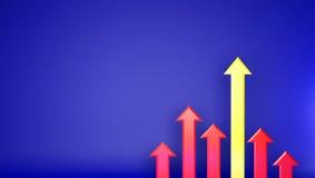 Avantage augmentant vers le haut du graphique jaune et rouge Photo stock