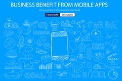 Avantage d'affaires de concept mobile avec le style de conception de griffonnage illustration de vecteur