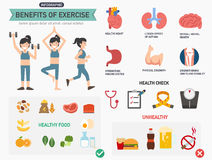 Avantages d'infographics d'exercice illustration libre de droits