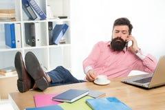 Avantages du travail de bureau Profession moderne Collègue brutal d'appel de développeur web d'homme barbu de type tout en buvant photos stock