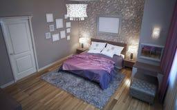 Avantgardeslaapkamer in grijze kleurentendens Stock Foto