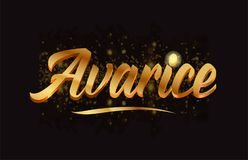 Goldenlogotype copy 47. Avarice gold word text with sparkle and glitter background suitable for card, brochure or typography logo design royalty free illustration