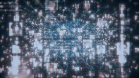 Avaricia social de la conexión de la gente de la red El concepto grande de los datos, inundación de la gente irreconocible conect stock de ilustración