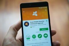 Avast applikation i Google leklager fotografering för bildbyråer