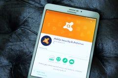 Avast mobil säkerhet och antivirus app royaltyfri fotografi