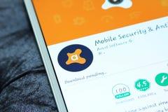 Avast mobil säkerhet och antivirus app arkivfoto