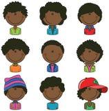 Avatar afro-americano dos meninos Foto de Stock