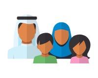 Avatar arabi dei membri della famiglia nello stile piano Immagine Stock