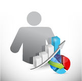 Avatar and business graphs avatar illustration Royalty Free Stock Photography