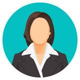 Avatar businesswoman portraits in four circles. Vector user pics Royalty Free Stock Image
