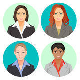 Avatar businesswoman portraits in four circles. Vector user pics Royalty Free Stock Photos